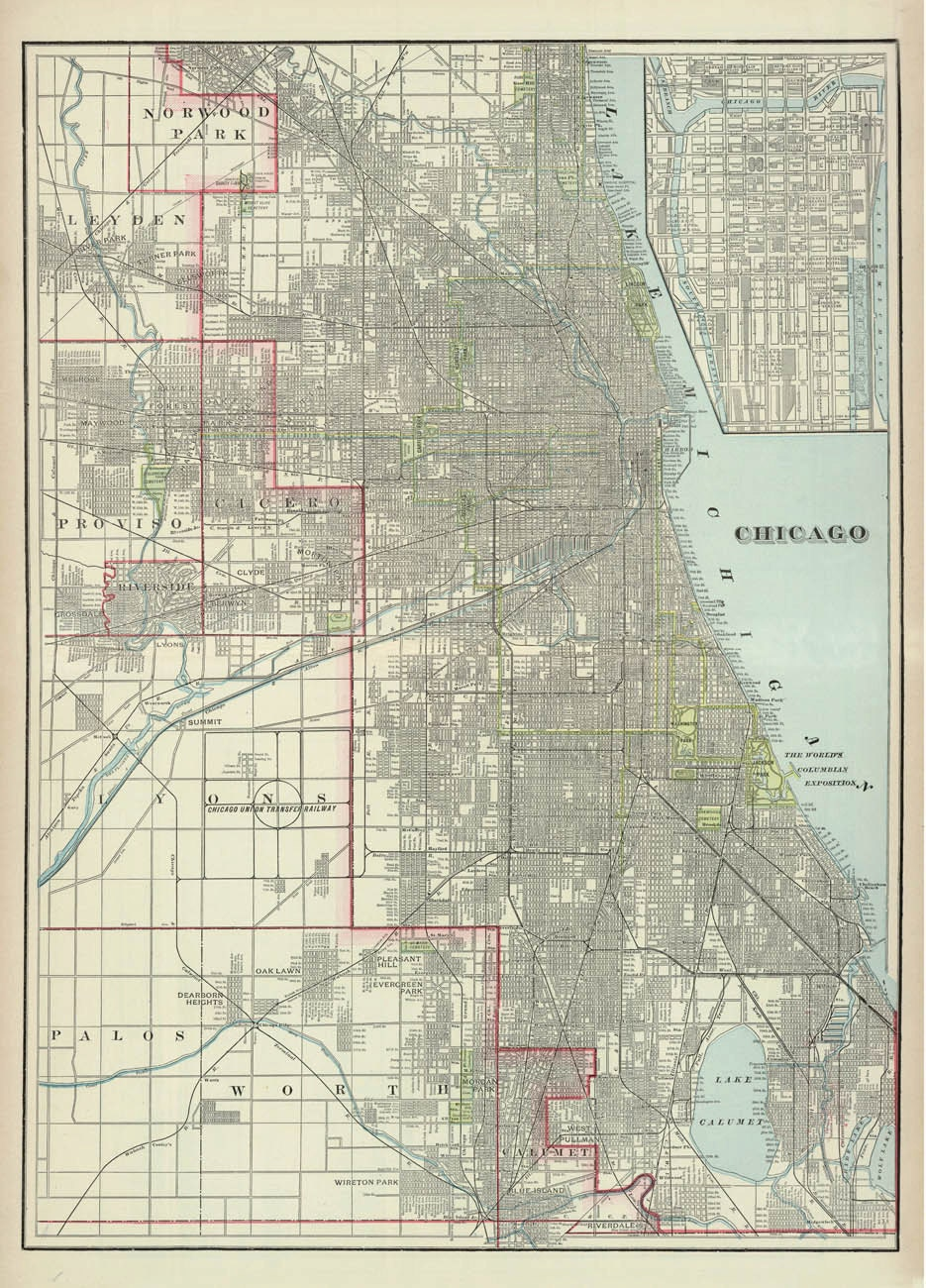 Map Of Chicago Antique Chicago City Map Print By AncientShades