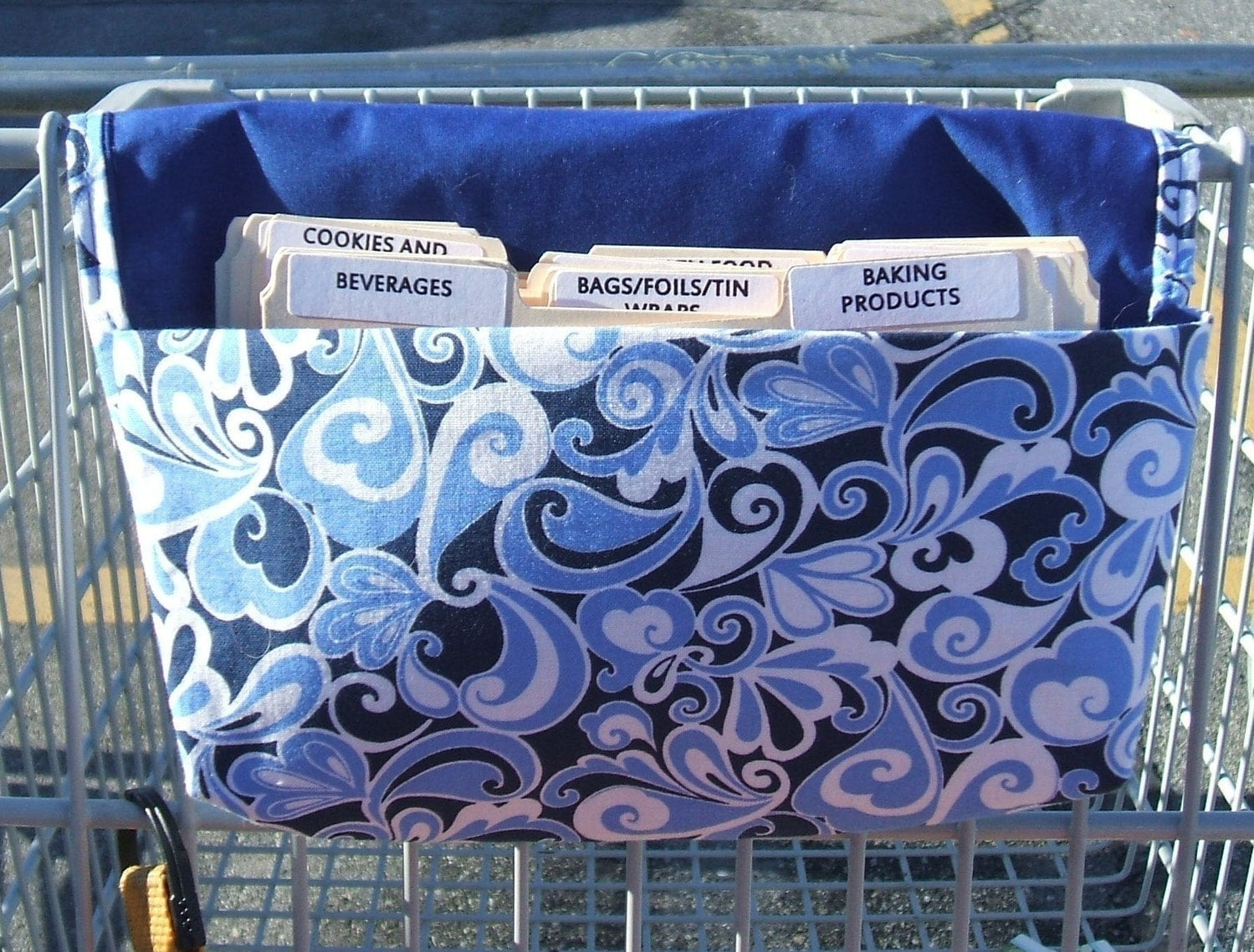 Coupon Organizer Holder Caddy  Fabric Blue Open Heart Paisley