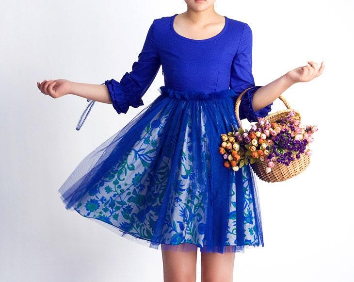 کتانی لباس کوتاه آبی (0061)