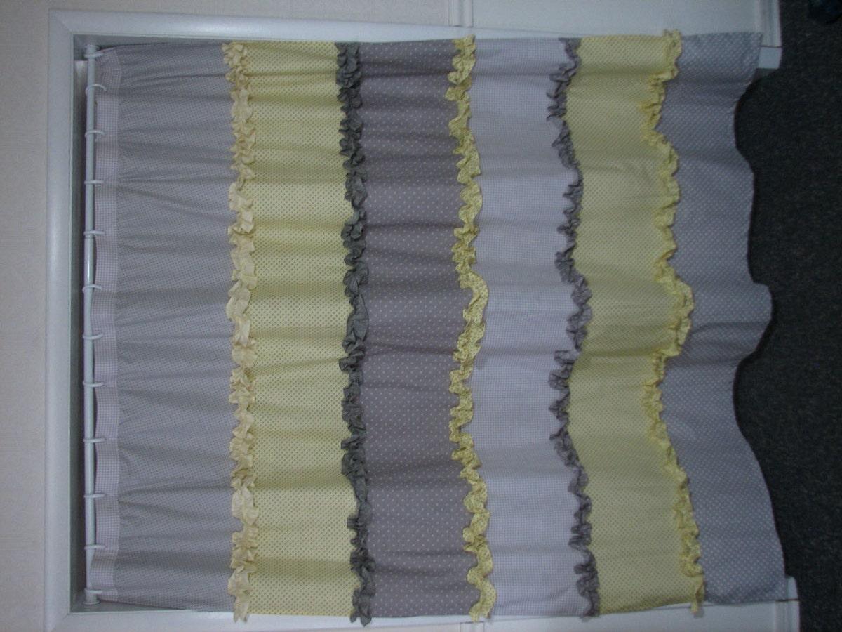 Yellow And Gray Ruffled Shower Curtain