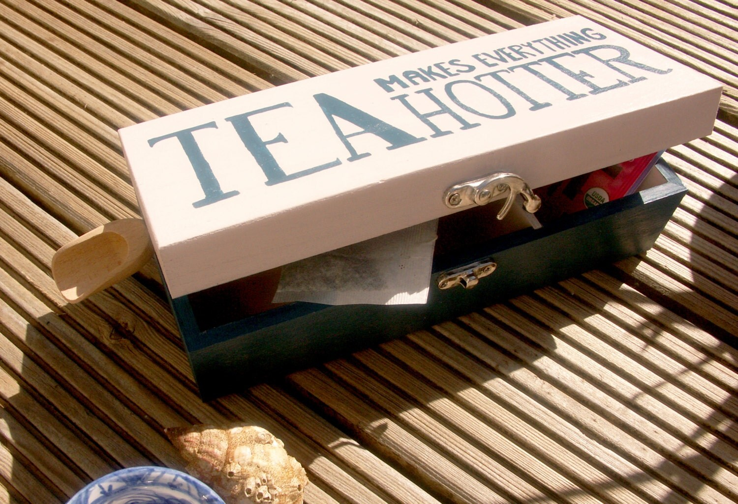 50 SALE! Wooden Tea box White and Blue
