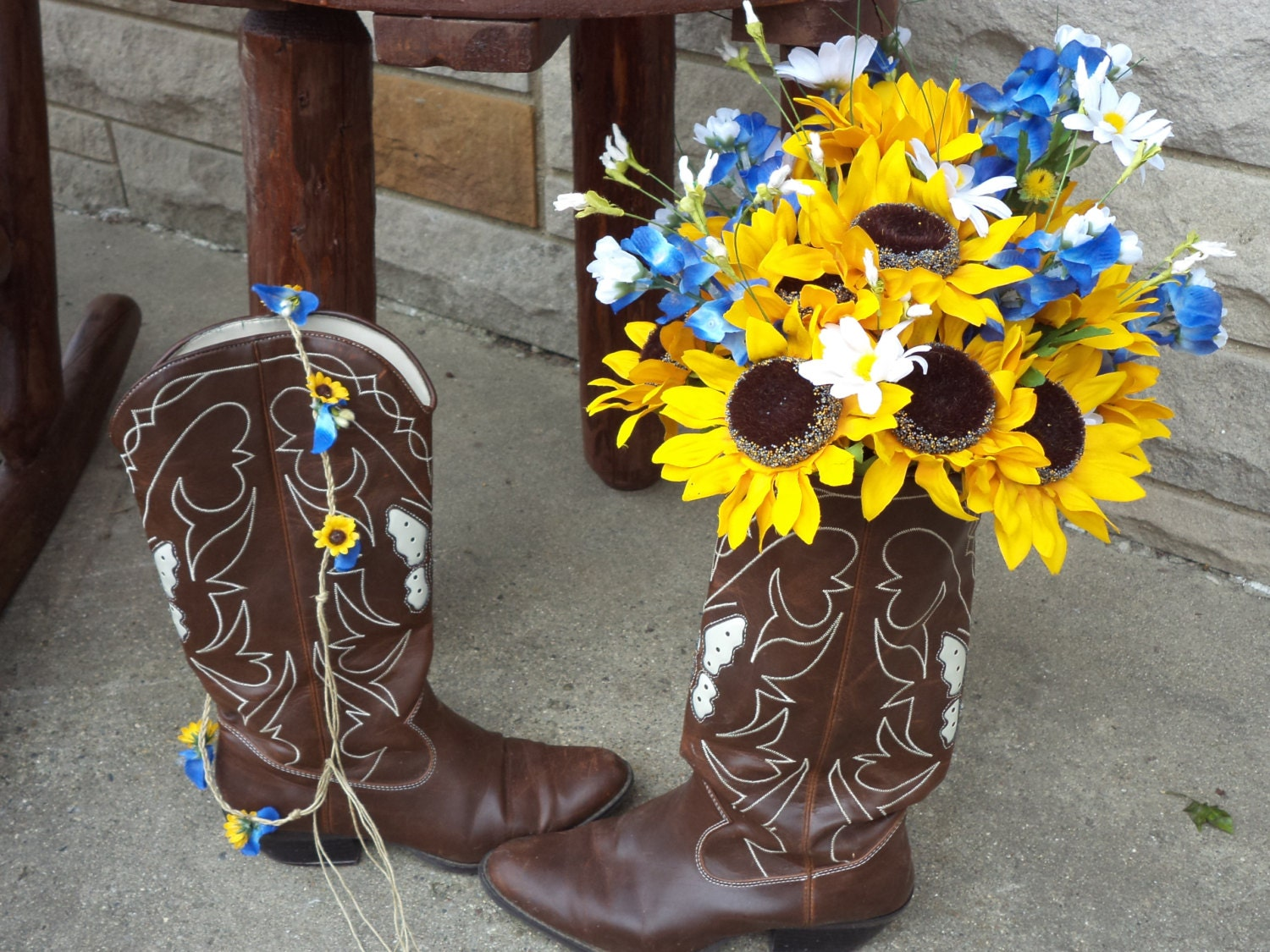 Large sunflower and texas bluebonnet country wedding rustic large sunflower and texas bluebonnet country wedding rustic wedding silk bridal bouquet and grooms boutonniere fotofuze mightylinksfo