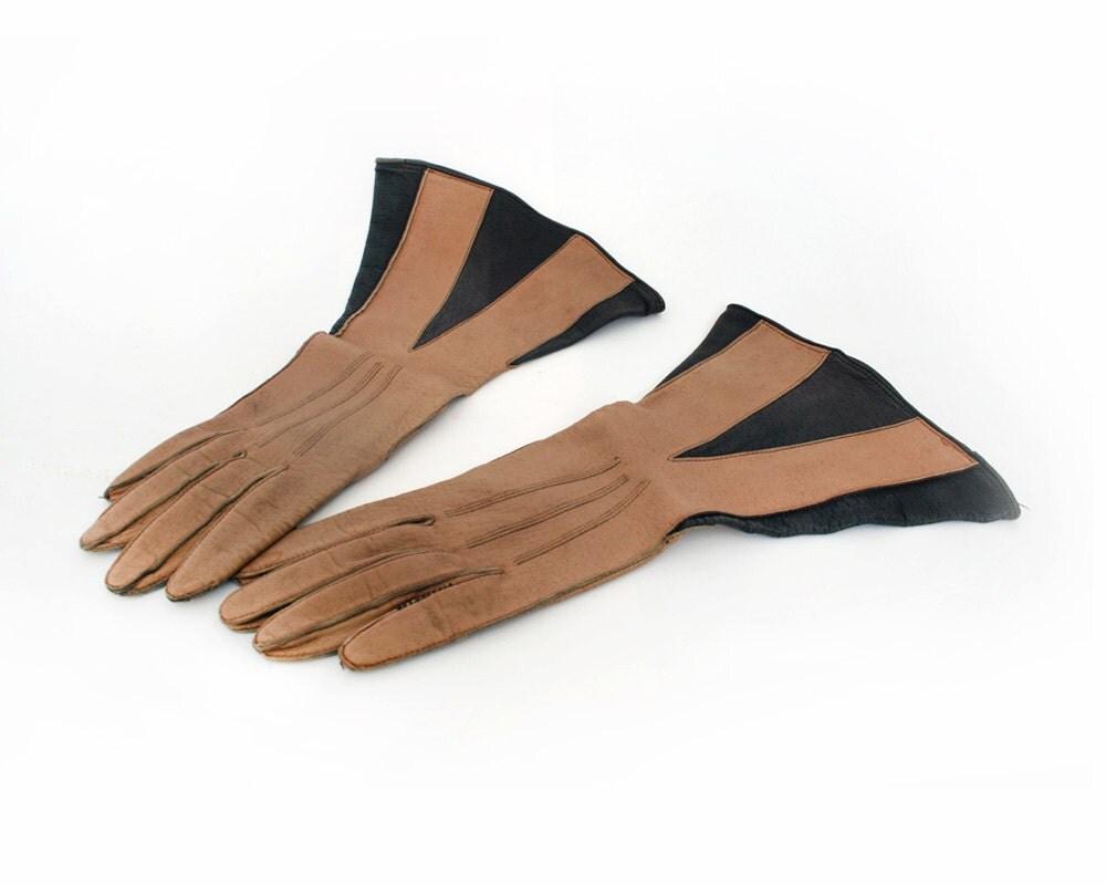 Ladies Vintage Brown Two Tone Flared Gloves - PemmysEmporium