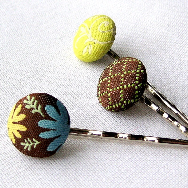 Button Bling Hair Pins in Chocolate Blue and by littlebrownbird