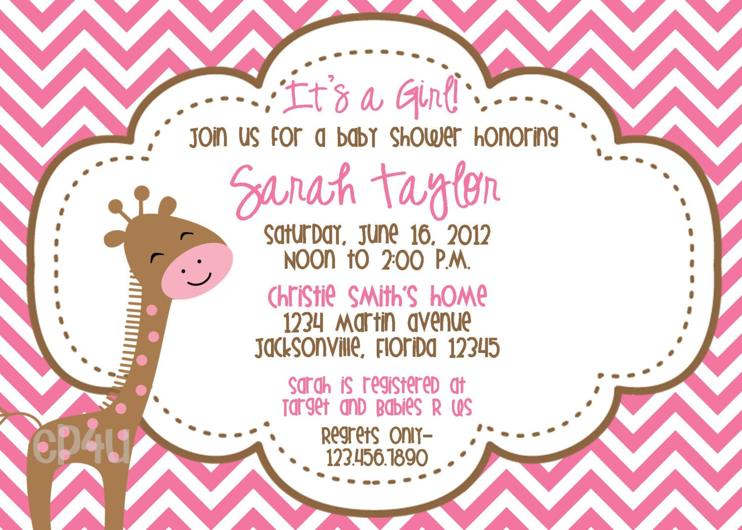 Giraffe Its a Girl Baby Shower Invitations Set by ...