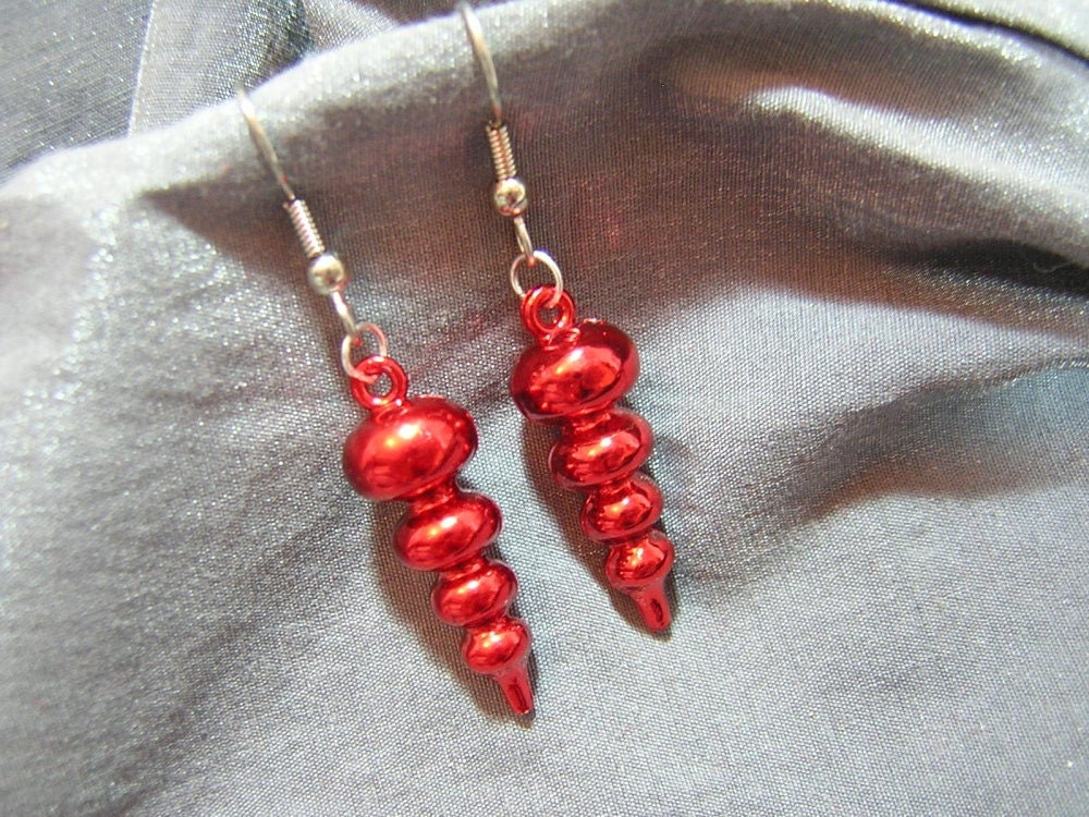 Bubble Christmas Ornament Earrings - Your Choice of Color - Handmade by Rewondered D225E-55515 - $7.95