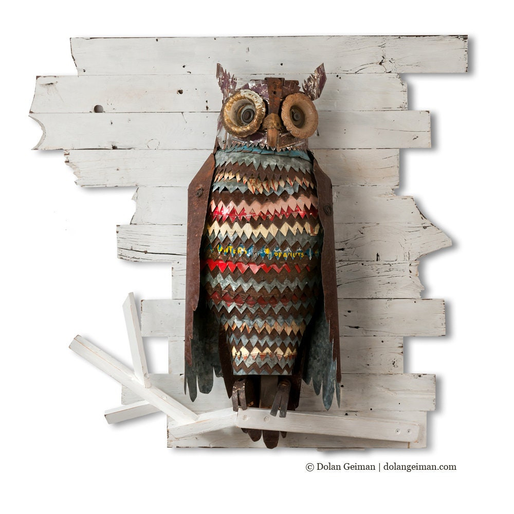 an owl made from reclaimed metal and wood and other found objects - featured on Living Vintage