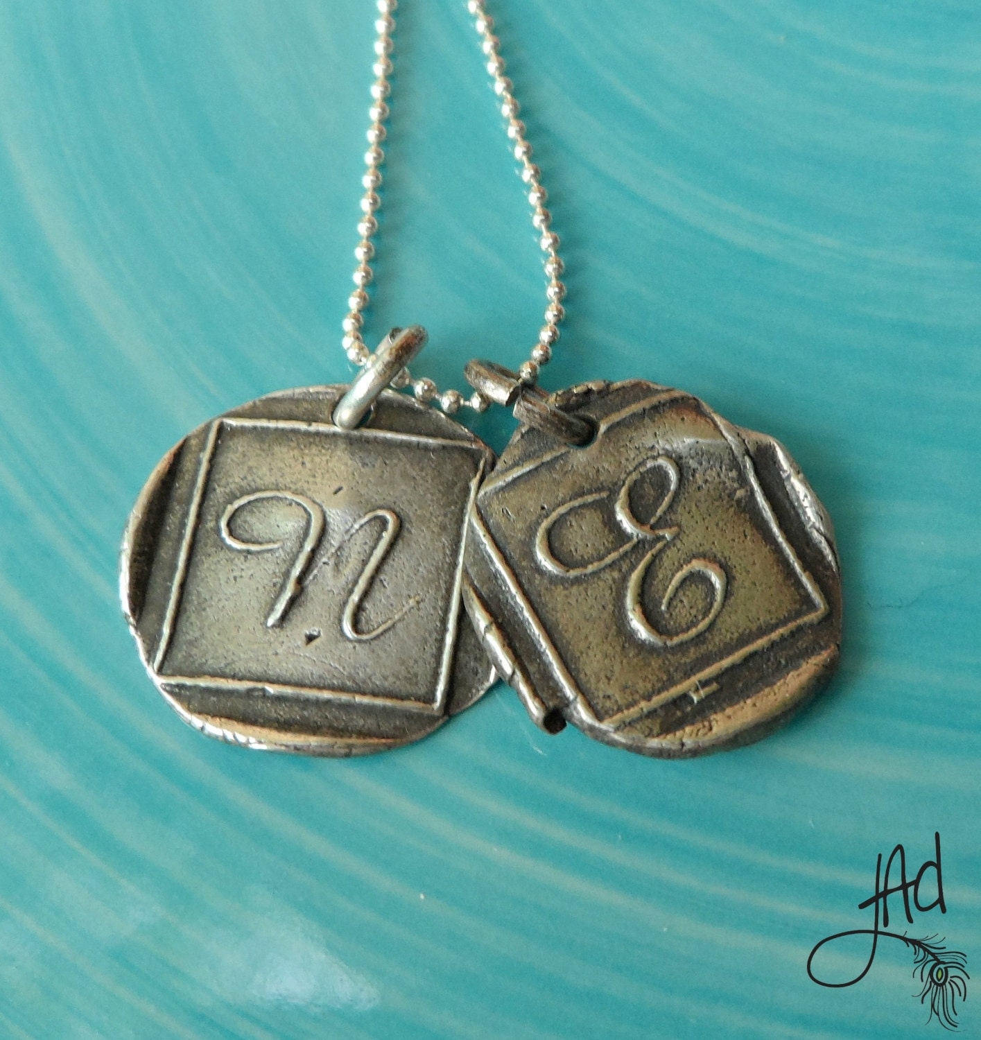 personalized wax seal necklace wax seal by jillallendesign