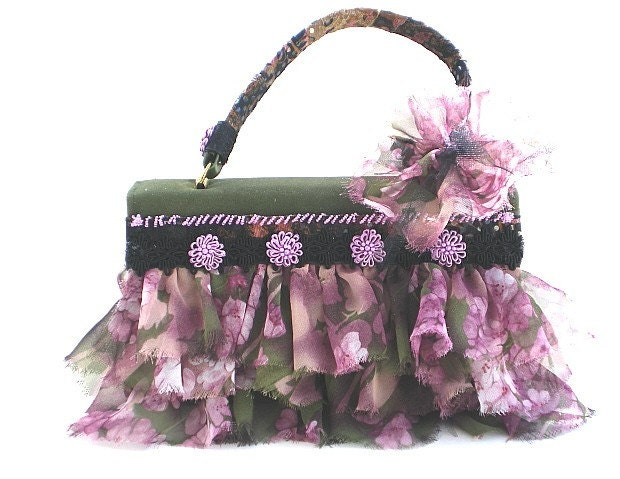 purse, handbag, shabby chic, altered couture, violet, plum, pink, green floral - BoudicaBags