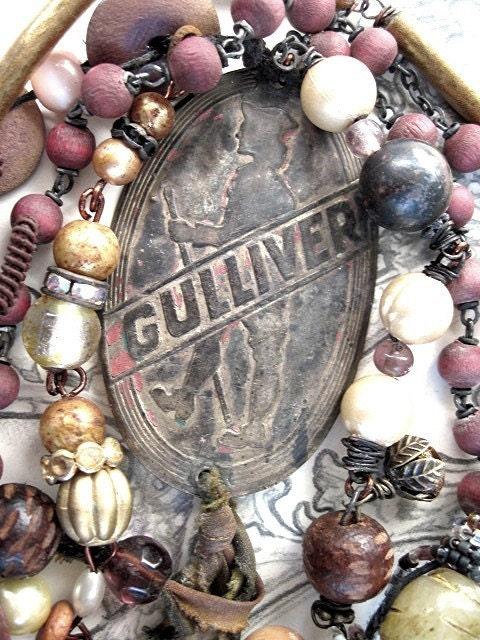 Gulliver.  Antique Tag Necklace.