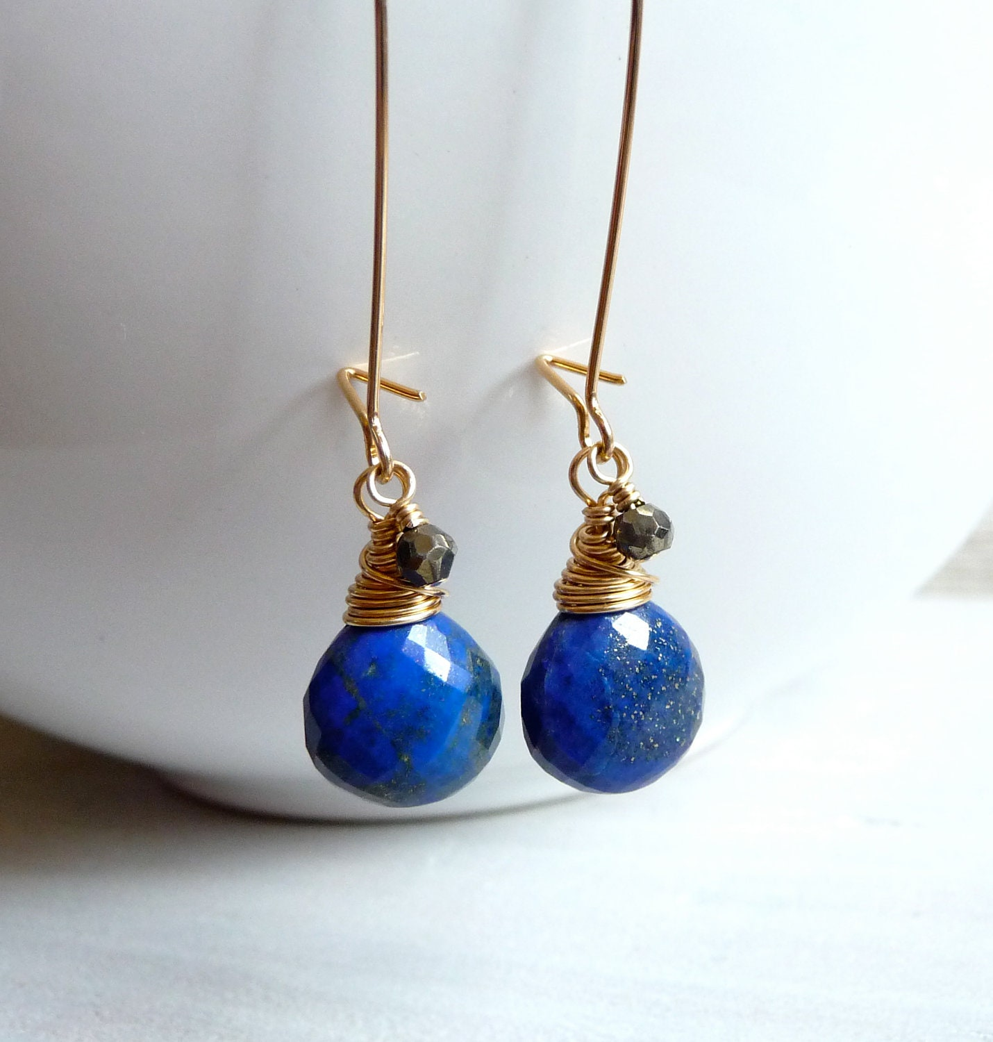 Lapis Lazuli Earrings, Pyrite Rondelles, Faceted Heart Briolette Earrings, Gold Filled Earrings, One of A Kind - karinagracejewelry