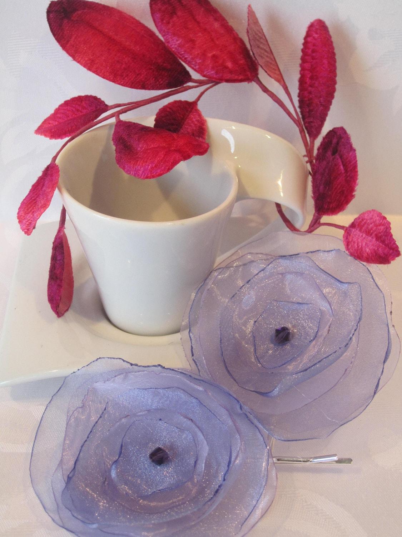 Lilac Purple organza flower bobby pins