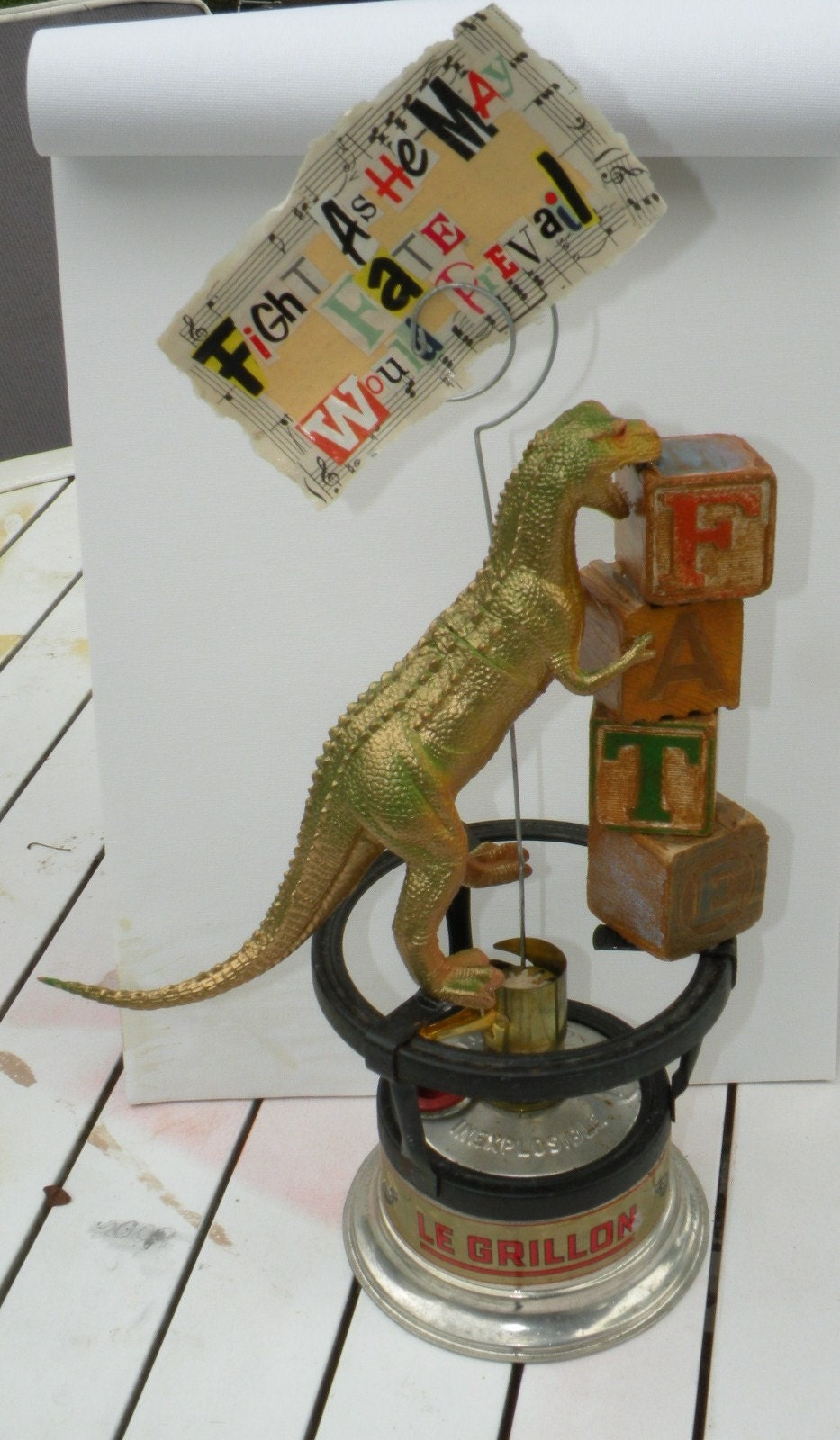 West Memphis 3 - Ira Mency FATE Assemblage Dinosaur Sculpture - All Proceeds to Benefit the West Memphis Three