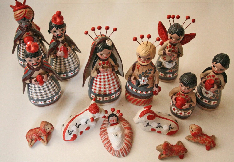 14 Piece Vintage Pottery Nativity Set By Modishvintage On Etsy
