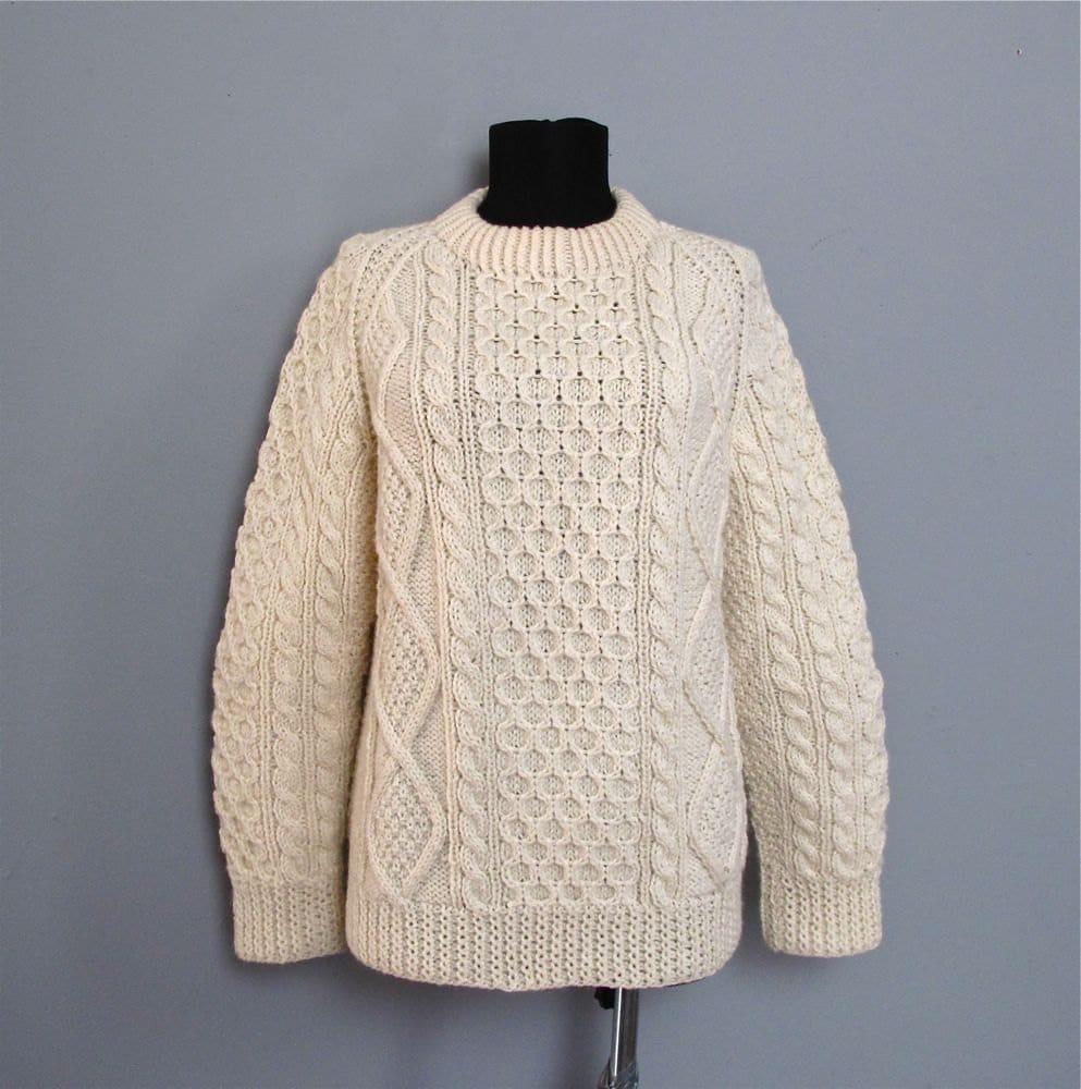 Knitting Patterns Cowl Scarf : vintage IRISH fishermans sweater S M by secretlake on Etsy