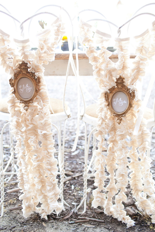 Bride and Groom Chair Decor 5/ Ruffle Chair Decor/ Wedding Chair Decor/ Wedding Decor/ Shabby Chic Wedding/ 001