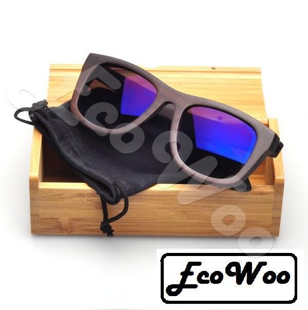 Moda Murzynki drewniane spolaryzowane okulary z niebieskimi soczewkami