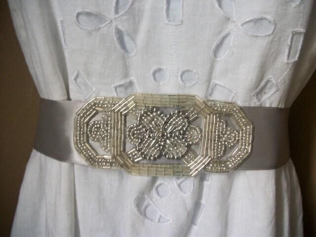 Beautiful Vintage Inspired Silver Beaded Bridal Sash