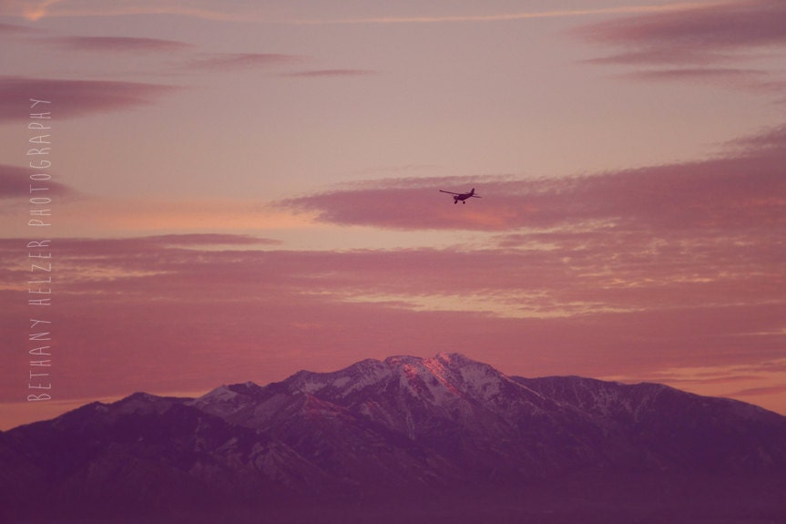 Landscape Photography, 8x12 Print, Nature Photography, The Mountains Are Calling, Rocky Mountain Art, Pink, Utah Art, Airplane, Sunset, Snow - riotjane