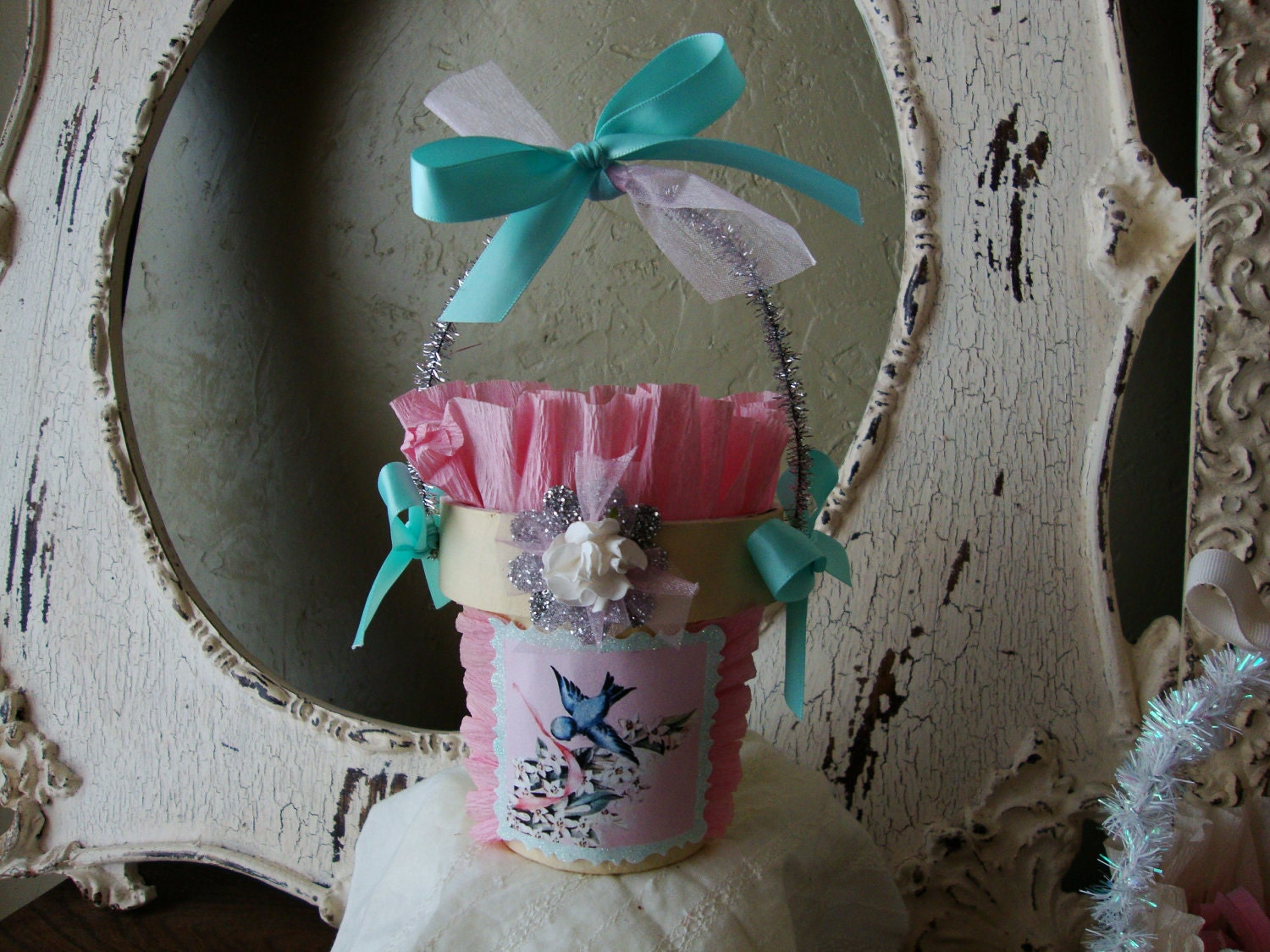 shabby chic gift basket paper mache pink and aqua by