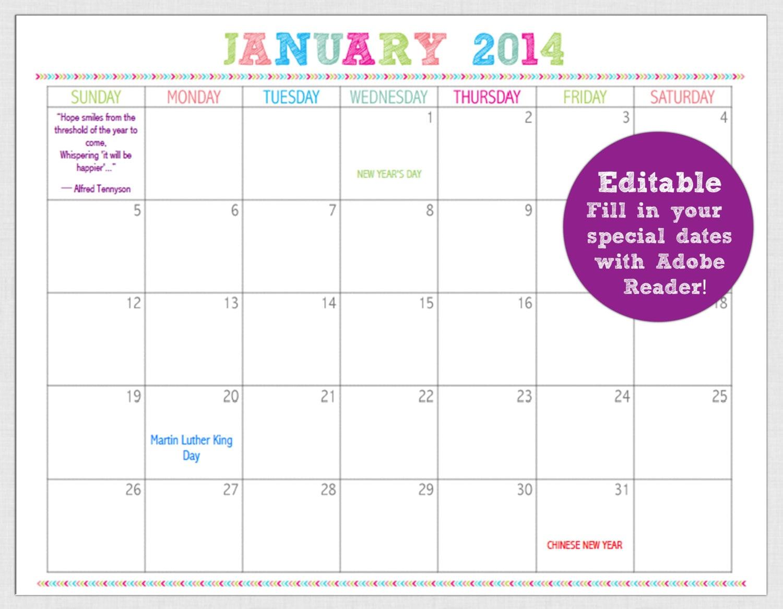 EDITABLE 12 Month Calendar- 2014 Pre-Dated INSTANT DOWNLOAD- diy ...