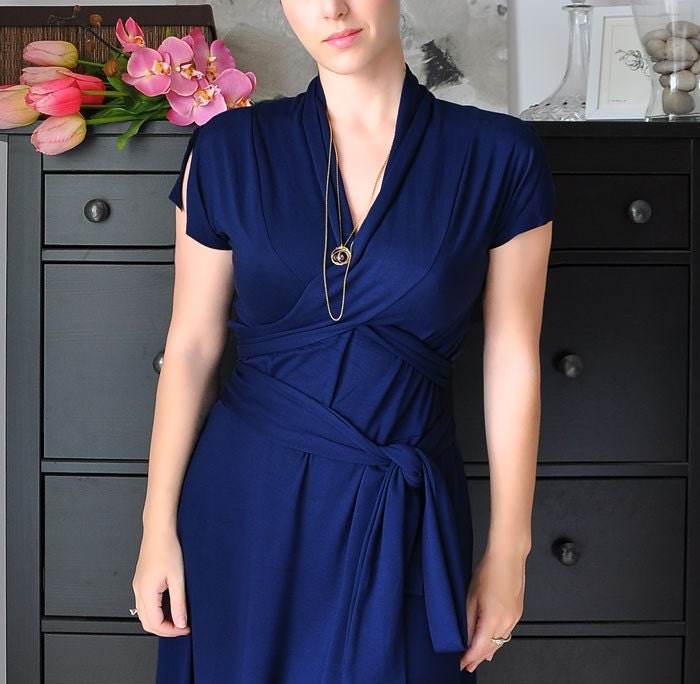 Wrap Dress  With Shawl Collar , Short Slitted Sleeves, In Mysterious Blue