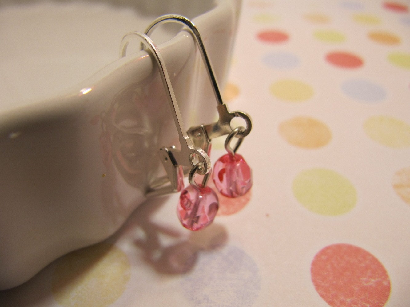 Pink Faceted Earrings