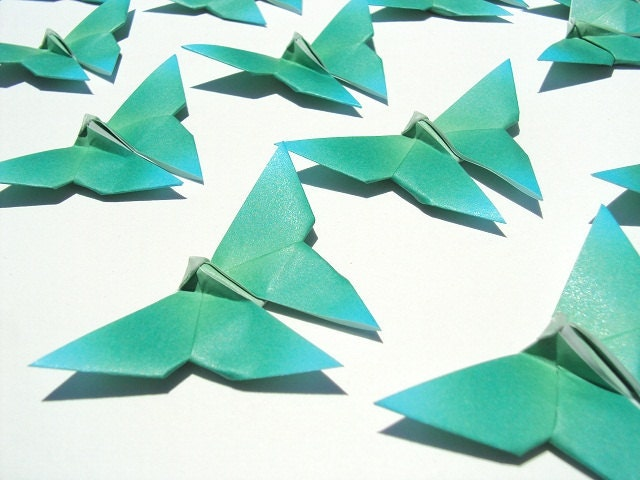 28 Fading Green Origami Butterflies