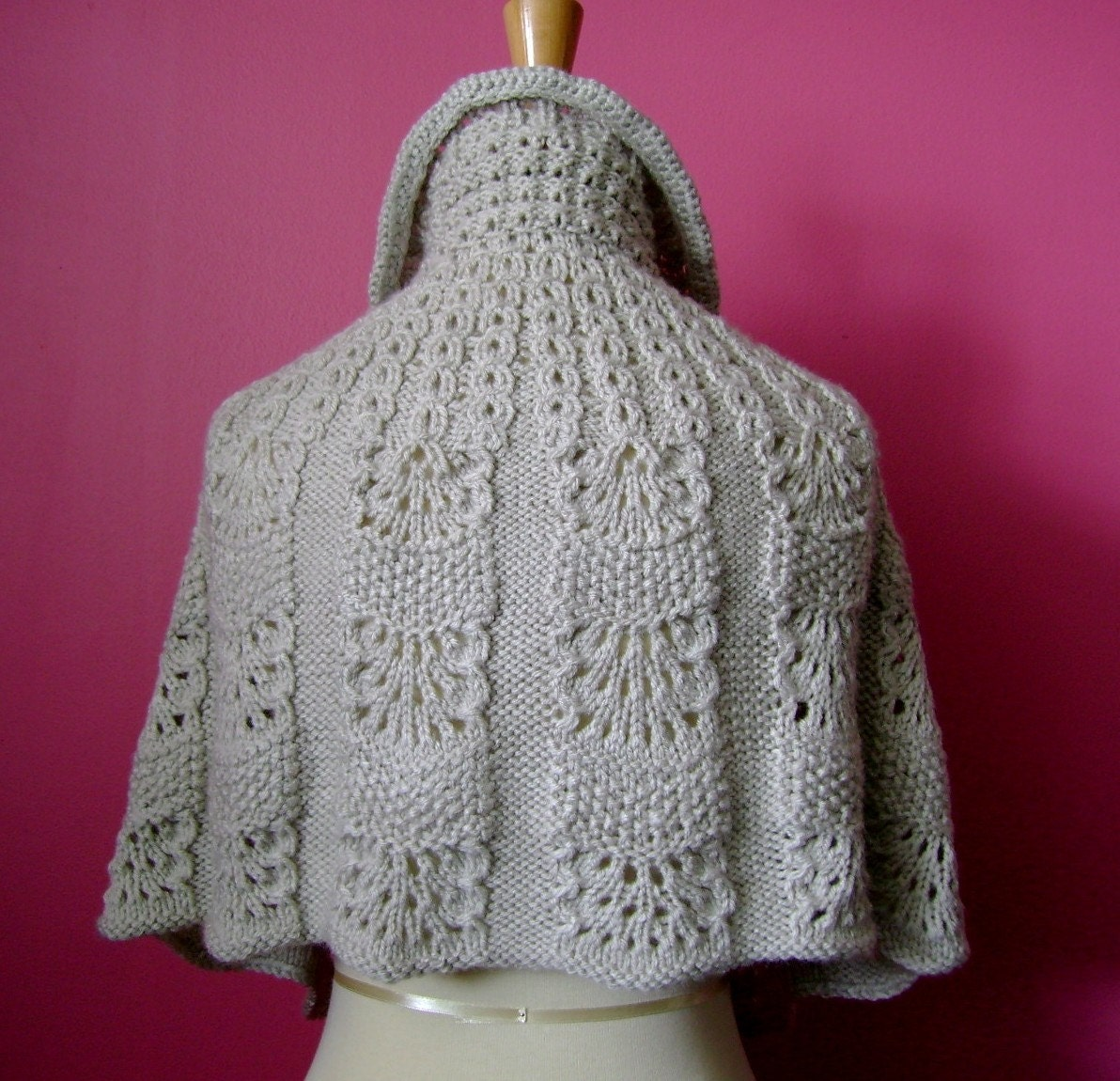 Vintage  Knitted capelet / cape / poncho in a shade of light linen mist silver gray Romantic victorian renaissance antique gorgeous crystal buttons