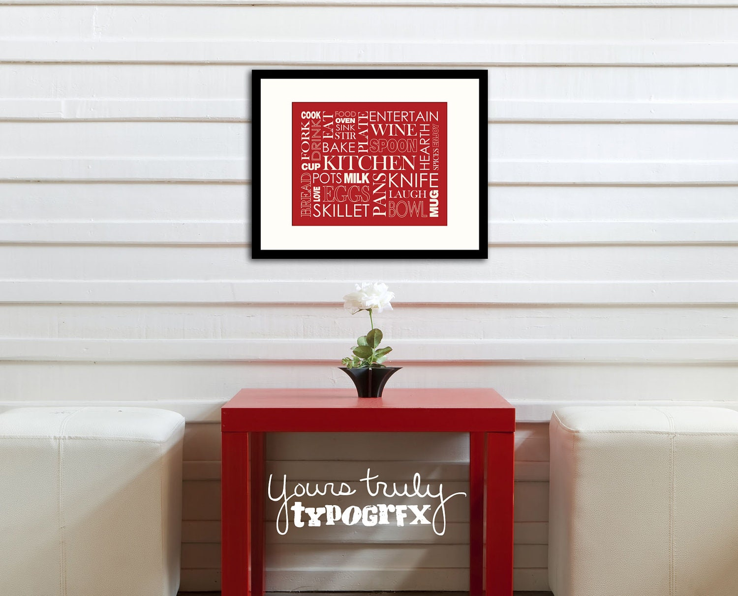 Kitchen themed typography word art 8x10 matted print by for 8x10 kitchen designs