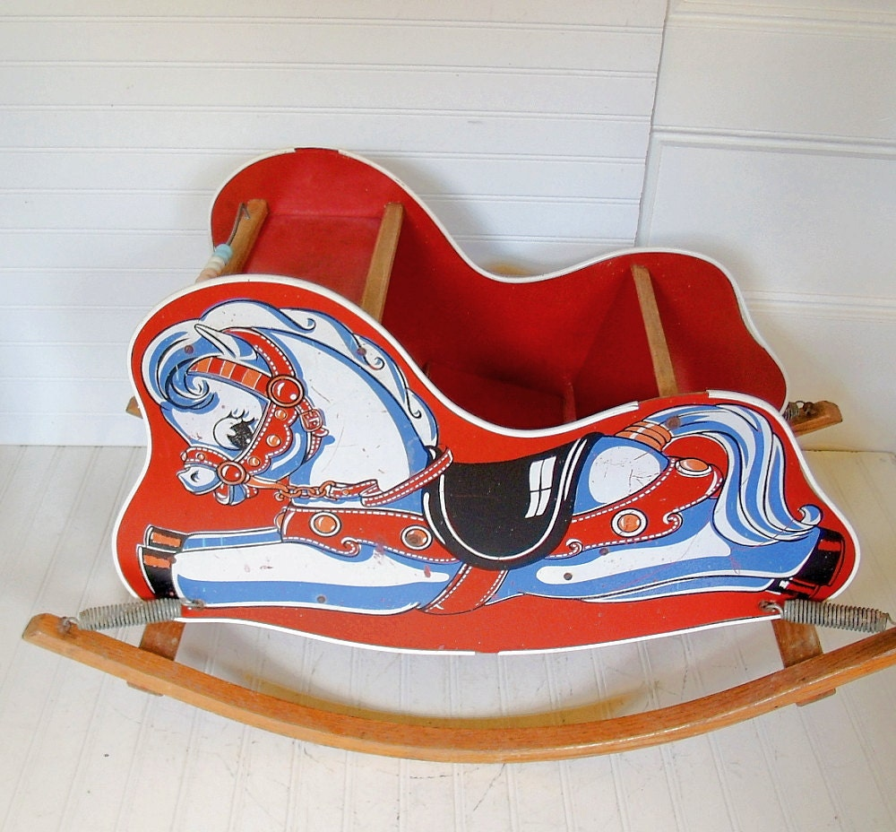 Bouncing Wooden Red Rocking Horse - Vintage Ride On Size - Shabby Farmhouse Doll Display Decor - DivineOrders