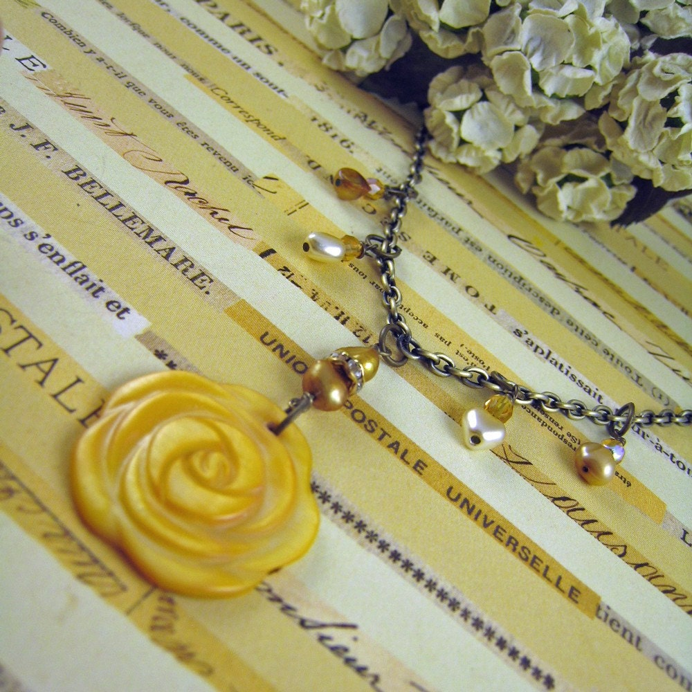 TEXAS ROSE  Vintage Inspired Antique Brass, Pearl, Shell and Crystal 16 inch Necklace