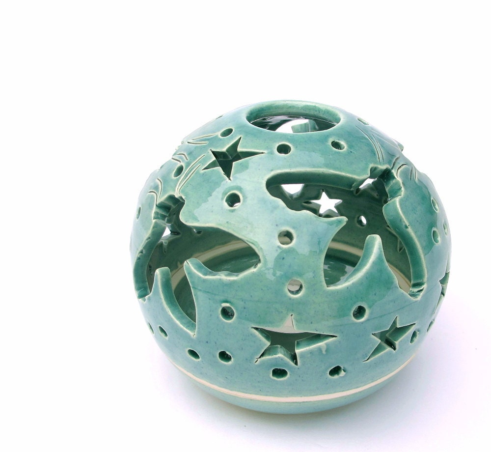 Candle Holder Flying Bees Handmade Pottery Turquoise Candileria Aqua Green Art and Home Decor - blueroompottery