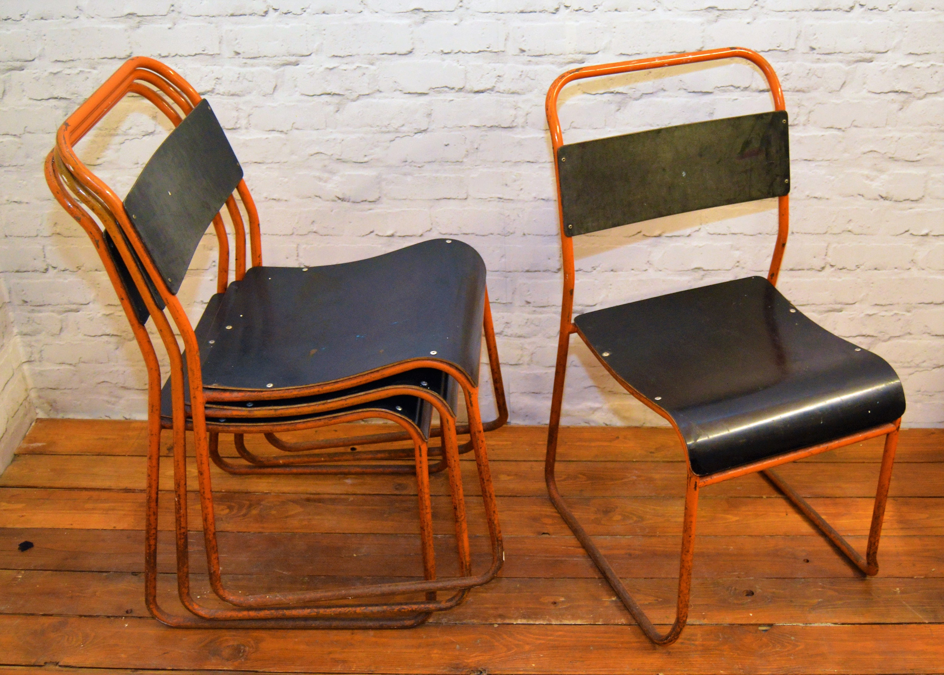 12 available vintage stacking chairs antique industrial retro cafe interior design restaurant bakelite tubular metal kitchen