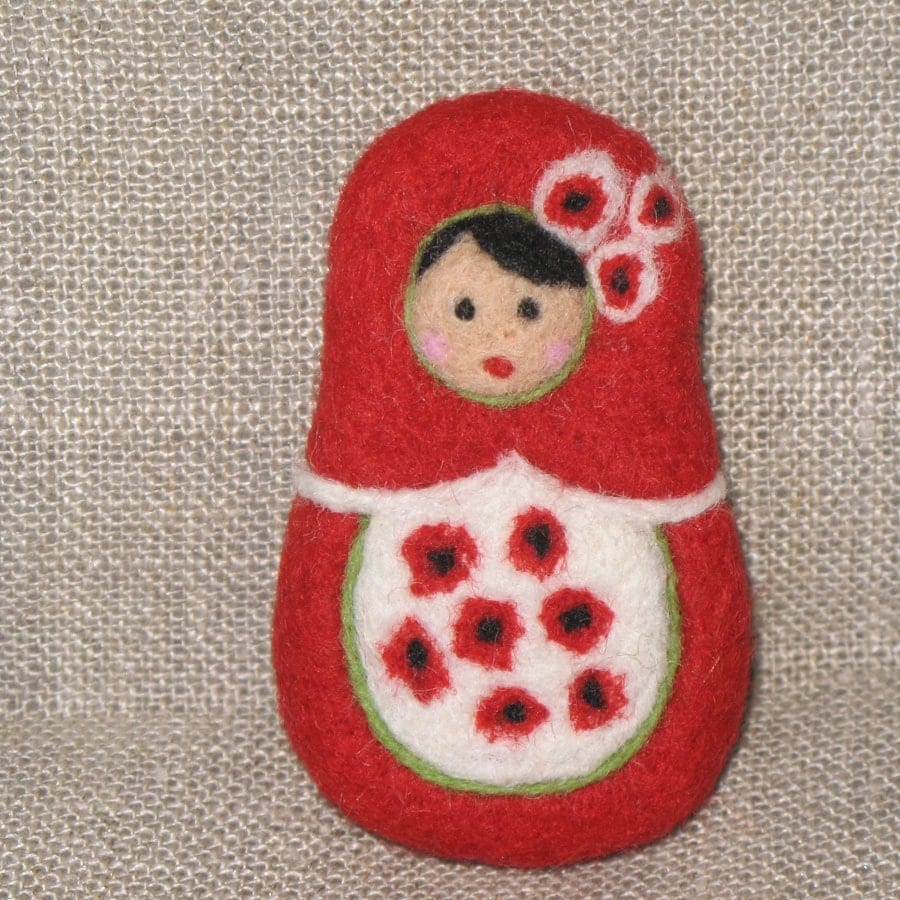 Red poppies matryoshka, needle felted wool brooch