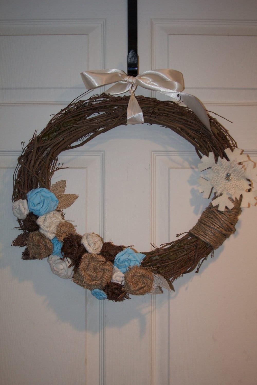Winter Grapevine and Burlap Wreath