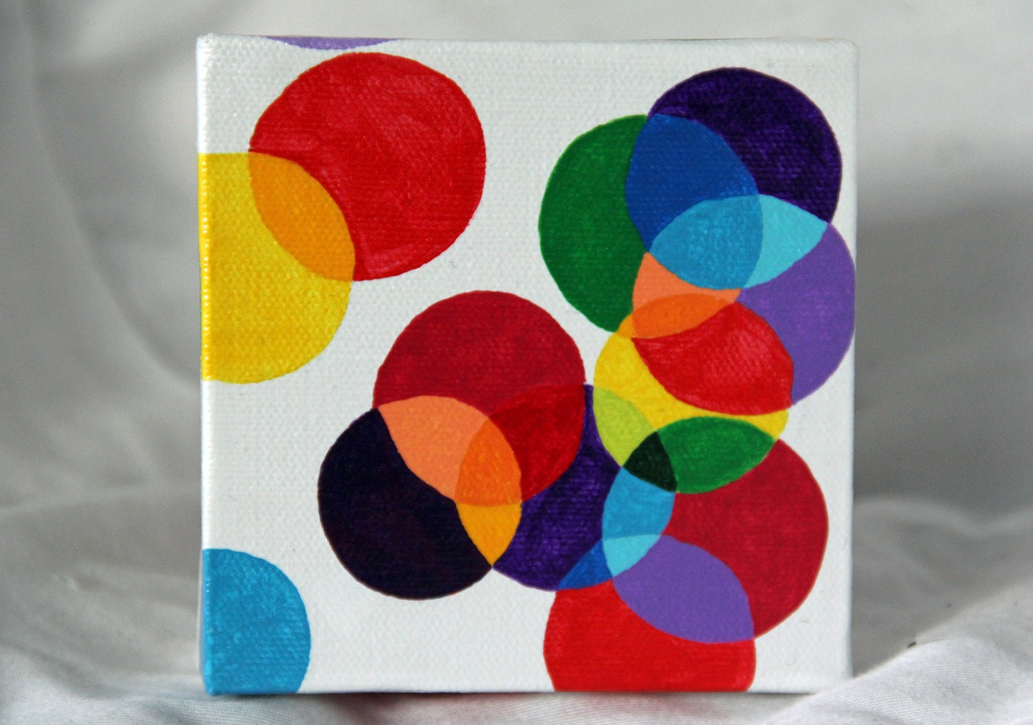 "Color Bubbles Balloons Art Painting - ""Color Pop"" - acrylic on canvas - multicolor, red, yellow, blue, white - child, nursery, home décor - GladToBeHere"