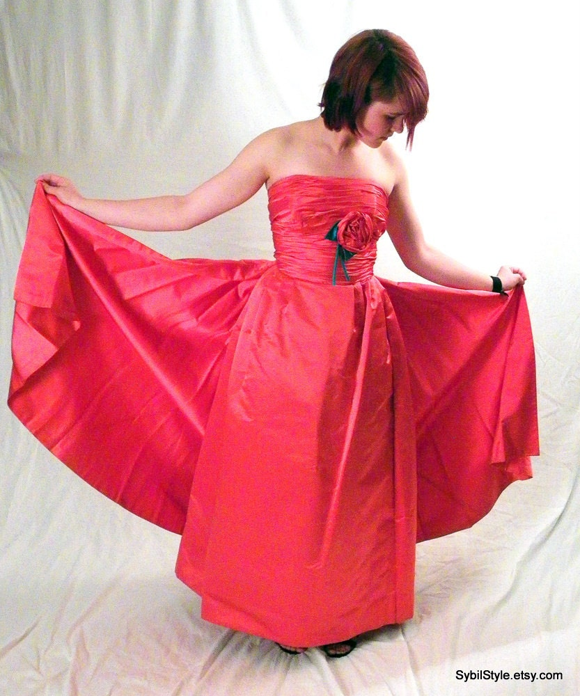 Red Silk Prom Dress Ballgown Wedding Dress