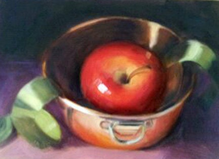 Apple and Copper Bowl 5 x 7 Oil Painting