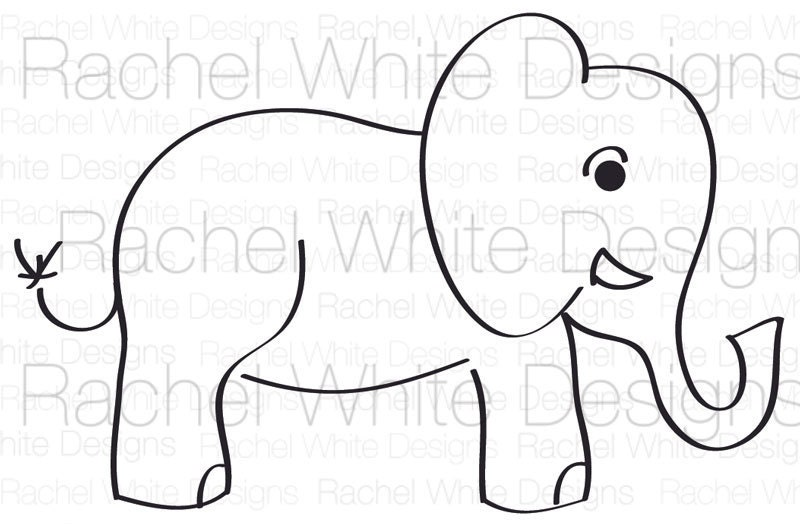 Elephant Stencil Trunk Up Baby Elephant Digital