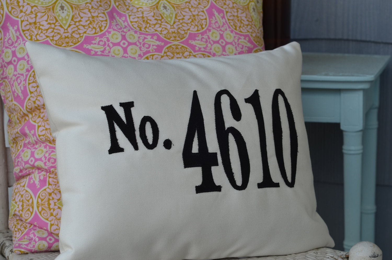 House Number Pillow Address Pillow Sunbrella Fabric