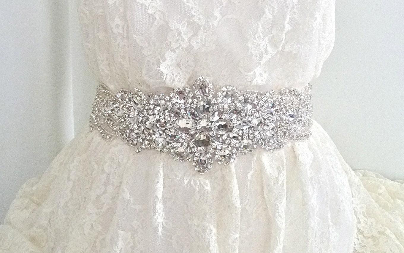DIANA DELUX - Rhinestone sash, bridal crystal belt, dramatic wedding belt - Free shipping, ships in 1 week