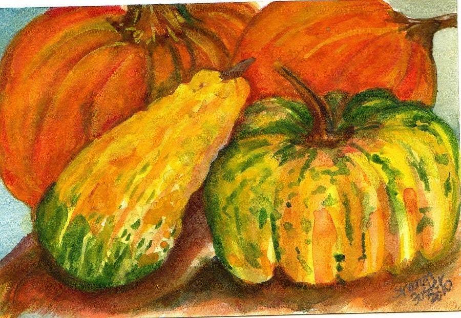 Original 4 by 6 inches Fall Gourds Pumpkins original watercolor