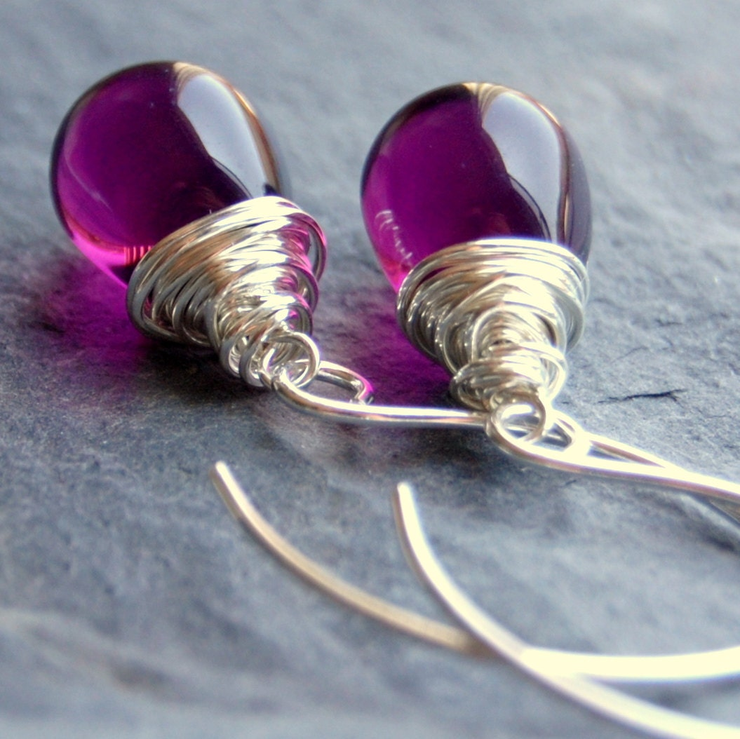 Earrings Handcrafted of Purple Amethyst Czech Glass Wire Wrapped Tear Drops on Handmade Sterling Silver Earwires