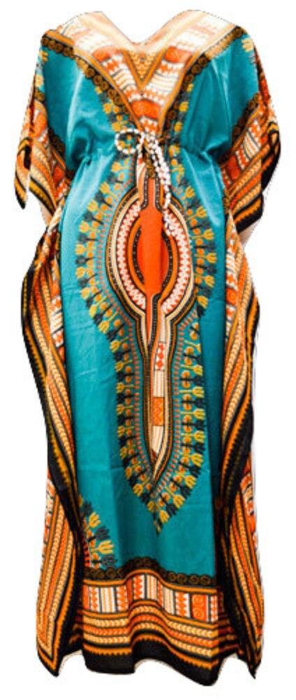 Plus Size Summer Paisley Tribal Aztec Print Drawstring Batwing Sleeve Kaftan Turquoise