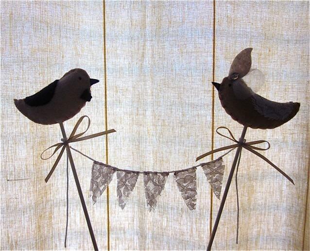 Bird Wedding Cake Topper Romantic Bird cake topper Tan birds on bamboo