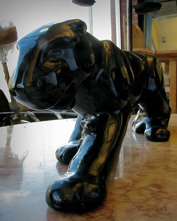 Vintage black ceramic panther by vintageoneofakind on etsy - Black panther ceramic sculpture ...