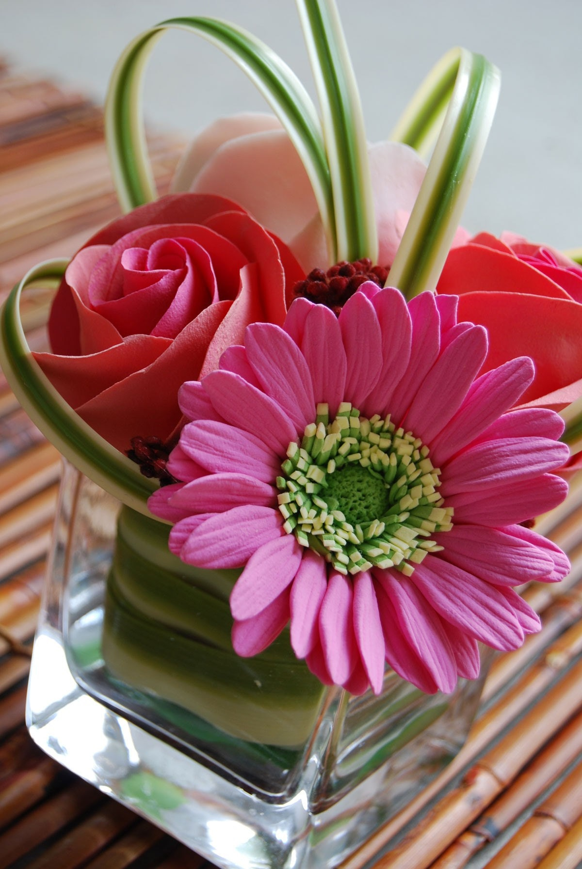 Pink Gerbera, Pink and Peach Roses, and Grasses