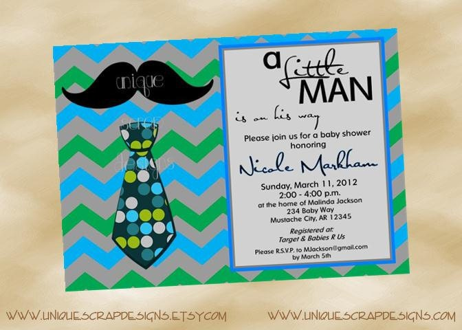 Little MAN Baby Shower Invitation Style by UniqueScrapDesigns