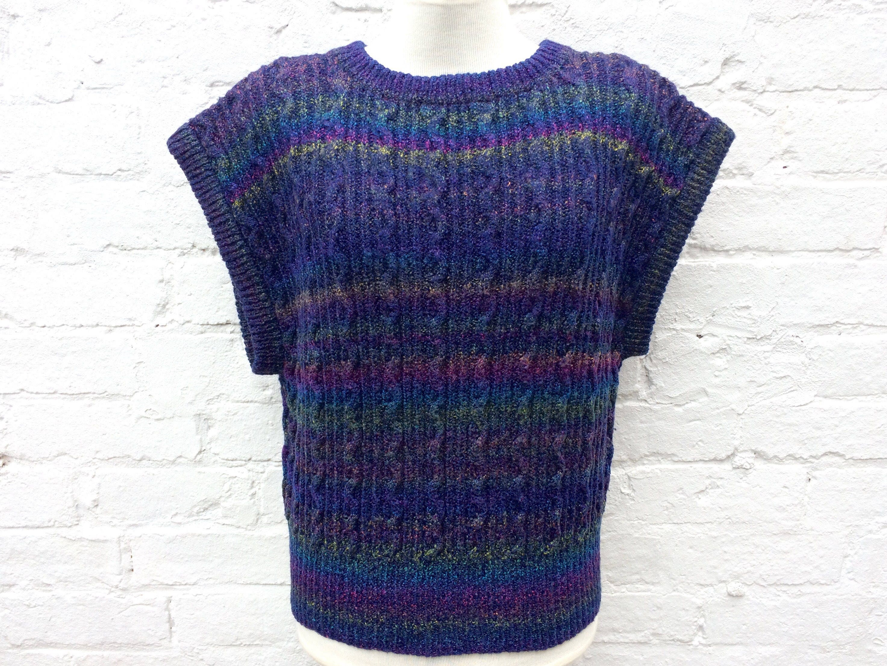 Purple sweater vest vintage 80s knit short sleeve pullover handmade